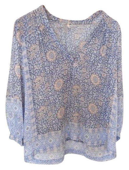 Item - Pink Blue Floral Pattern Silk See Through Blouse Size 8 (M)