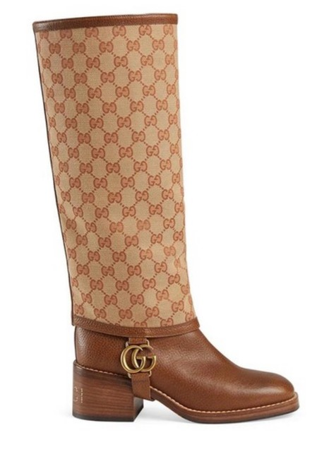 Item - Beige Brown New Gg Supreme Gaiter Leather Canvas Tall Boots/Booties Size EU 39 (Approx. US 9) Regular (M, B)