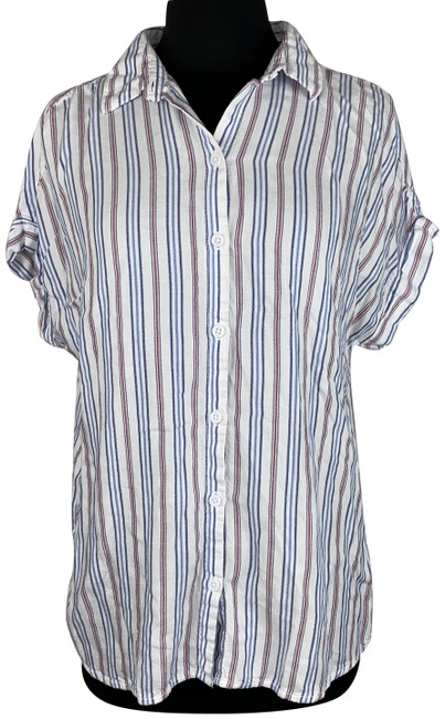 Item - Multicolor Spencer Collared Striped Short Sleeve Camp Shirt Button-down Top Size 6 (S)