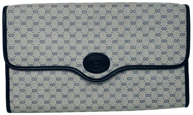 Item - Vintage Monogrammed Blue and Gray Canvas & Leather Clutch
