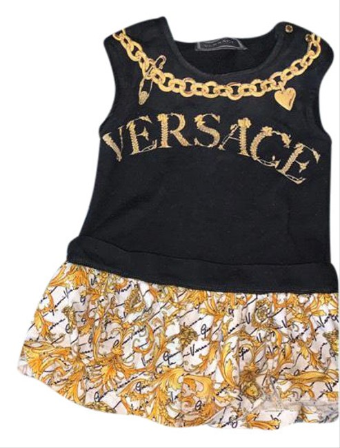 Item - Black & Gold Mid-length Short Casual Dress Size OS (one size)