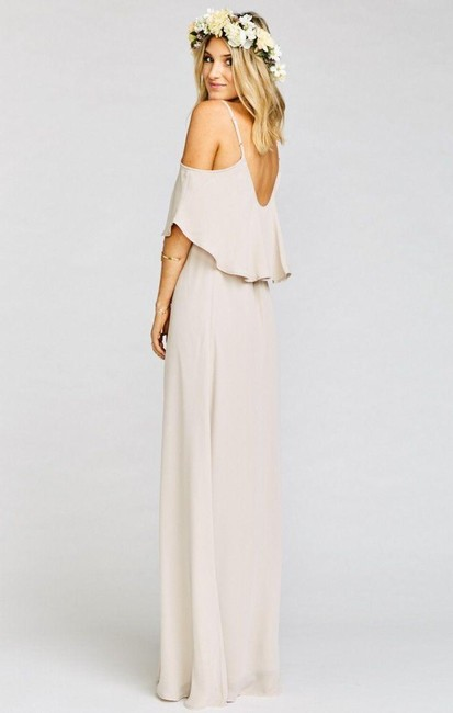 Item - Beige Chiffon Caitlin Ruffle Gown The Ring Crisp Feminine Bridesmaid/Mob Dress Size 6 (S)