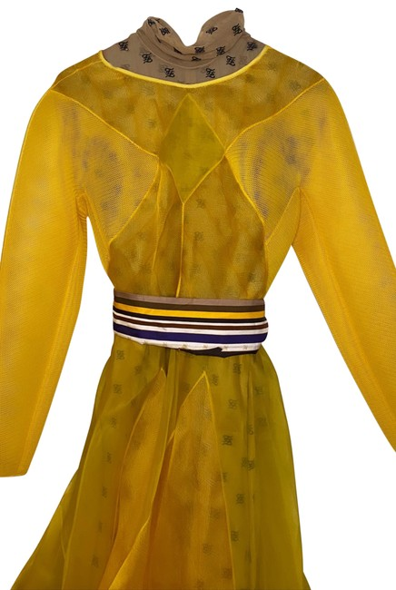 Item - Yellow 0400011419055 Mid-length Cocktail Dress Size 8 (M)