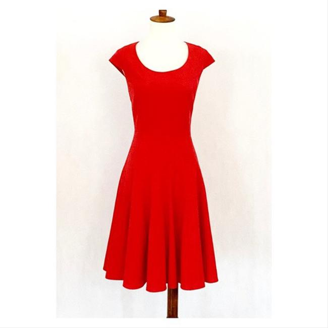 Item - Red Cap Sleeve Seamed Fit & Flare Mid-length Work/Office Dress Size 10 (M)