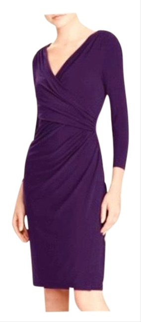 Item - Purple Jersey Knit Faux Wrap Mid-length Work/Office Dress Size 10 (M)