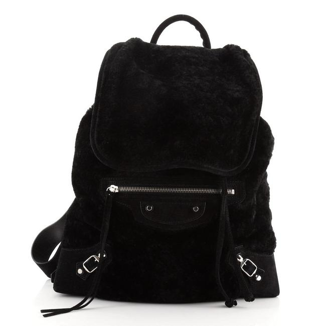Item - Classic Traveller With Black Shearling Suede Backpack