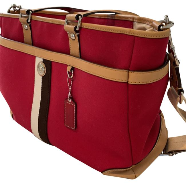 Item - Red Tan Brown Ivory Cloth and Leather Diaper Bag