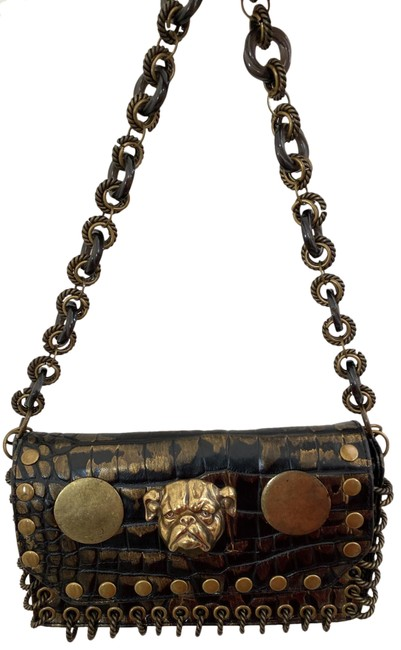 Item - Hand Brown Leather with Smudges Of Gold On Leather and Metal Rings Satchel