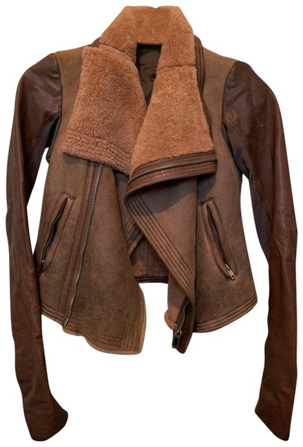 Item - Brown Distressed Leather Jacket Size 0 (XS)
