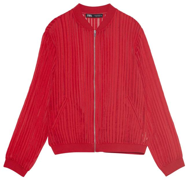 Item - Red Striped Organza Bomber Jacket Size 10 (M)