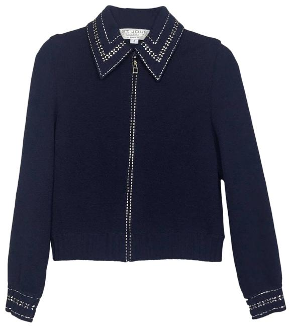 Item - Blue Gold Embellished Collared Zip Up Sweater Cardigan Size 2 (XS)