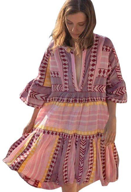 Item - Pink Combo Devotion Twins Heather Embroidered Tunic Short Casual Dress Size 8 (M)