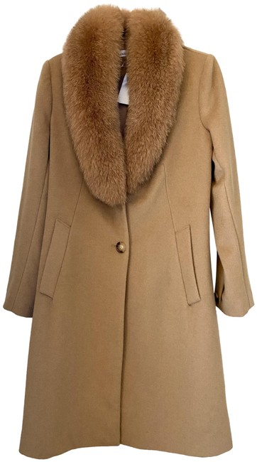 Item - Tan / Camel Fox Collar Wool Blend Coat Size 6 (S)