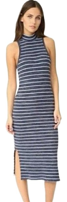 Item - Navy Striped Ribbed Mid-length Casual Maxi Dress Size 8 (M)