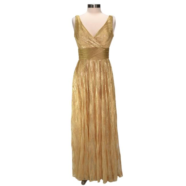 Item - Gold Sequin Embellished V-neck Gown Long Formal Dress Size 4 (S)