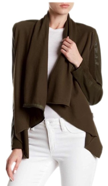Item - Brown Mixed Media Drape Front Jacket Size 4 (S)