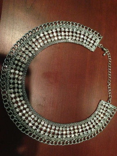 Unknown Crystal Studded Silver Necklace