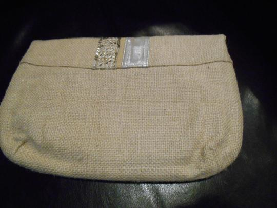 Onni Rustic Metallic Boutique Purse Wedding Bridesmaid Summer Country Unique Simple Classy Magnetic Closure Inside Pocket Burlap Tan and Silver Detail Clutch Image 6