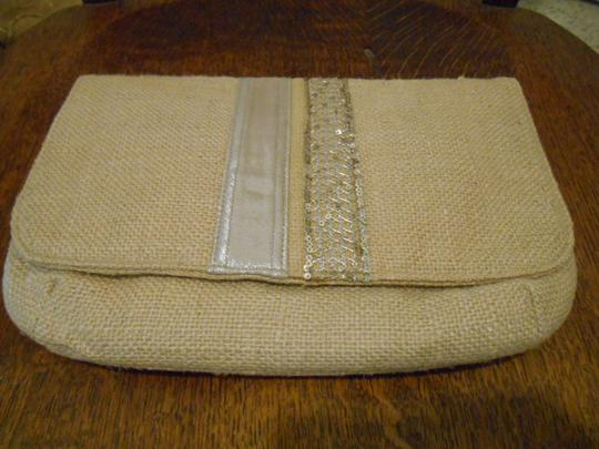 Onni Rustic Metallic Boutique Purse Wedding Bridesmaid Country Unique Simple Classy Magnetic Closure Inside Pocket Burlap Tan and Silver Detail Clutch