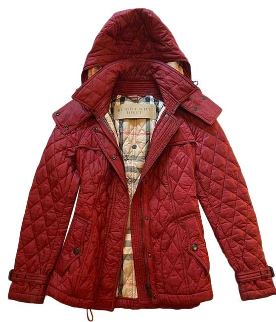 Item - Deep Red Quilted with Removable Hood Jacket Size 4 (S)