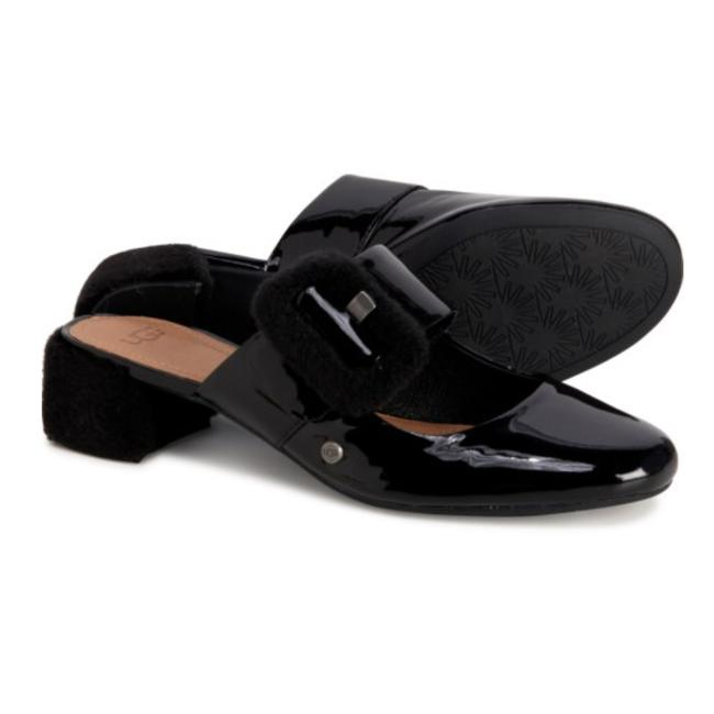 Item - Black New Patent Leather/Fur Mules/Slides Size US 6 Regular (M, B)