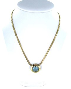 14KT YELLOW GOLD NECKLACE WITH ROUND BLUE TOPAZ ITALY 16.6 GRAMS FINE JEWELRY