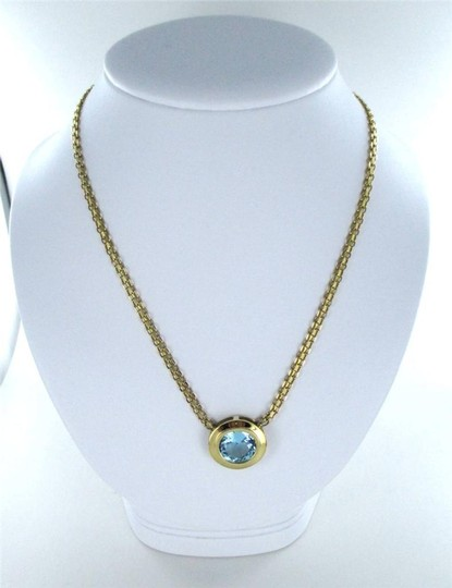 Other 14KT YELLOW GOLD NECKLACE WITH ROUND BLUE TOPAZ ITALY 16.6 GRAMS FINE JEWELRY