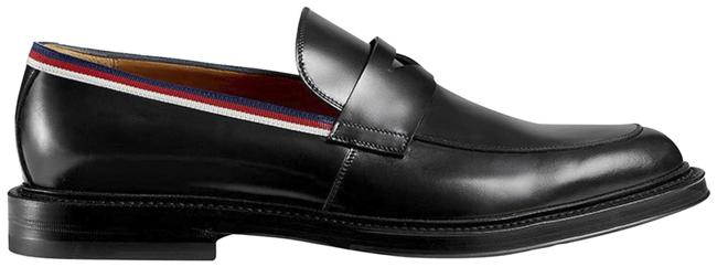 Item - Black Sylvie Men's Leather Gg Web Stripe Loafers 8(G) 9(Us) Flats Size US 9 Regular (M, B)