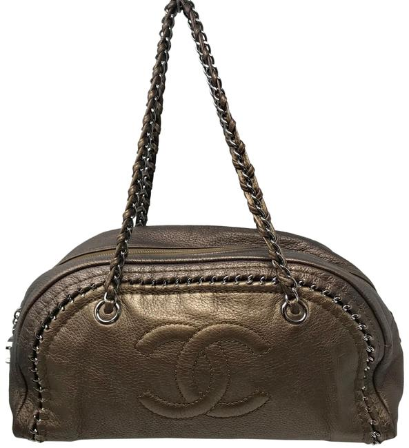 Item - Calfskin Luxe Linge Chain Around Cc Logo Bowler Bronze Leather Hobo Bag