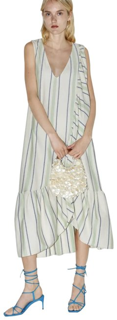 Item - Green Cream Blue Rustic with Ruffle Trim Mid-length Casual Maxi Dress Size 6 (S)
