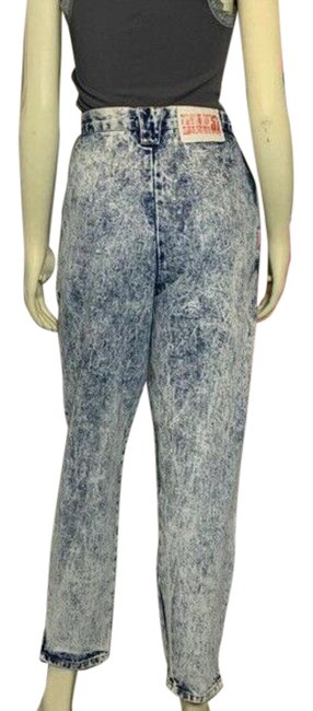 Item - Blue Light Wash Vintage Button Fly Distress High Relaxed Fit Jeans Size 33 (10, M)