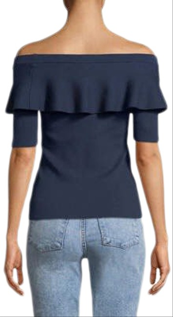 Item - Off The Shoulder Ruffle Knit In Navy Sweater