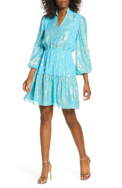 Item - Blue Joella Metallic Silk Chiffon Short Casual Dress Size 0 (XS)