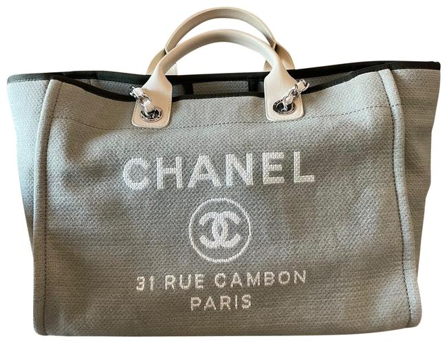 Item - Deauville Large Fabric Grey and Beige Canvas Tote
