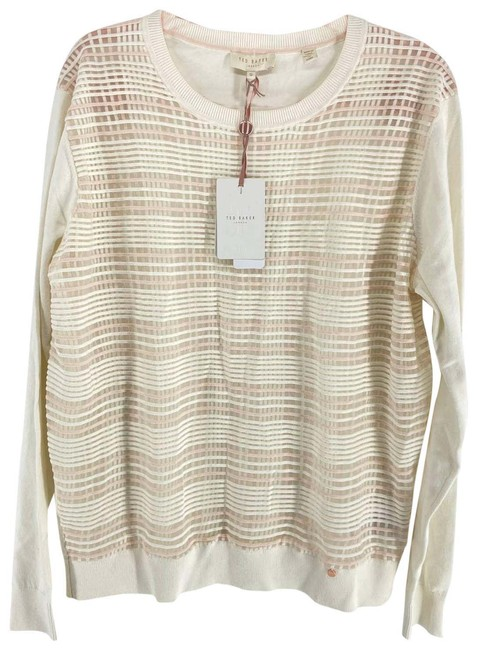 Item - Pink Plaid Front Womens 12 Msrp White Sweater