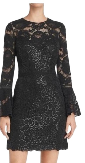 Item - Black Bell Sleeve Rose Lace Sequin Short Night Out Dress Size 8 (M)