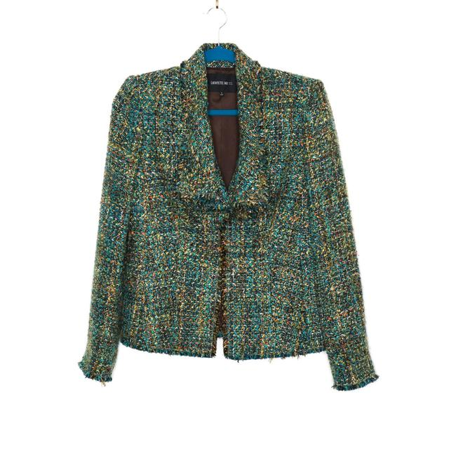 Item - Green Tweed Frayed Trim Lined Open Front Blazer Size 8 (M)