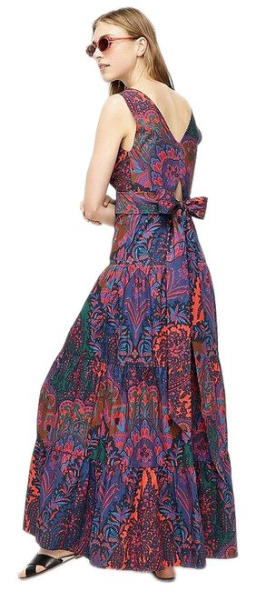 Item - Purple Green Blue Pink Maxi In Ratti Scarf Paisley - Long Night Out Dress Size 2 (XS)
