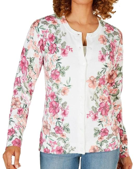 Item - Floral-print Cardigan White Ps Pink Sweater