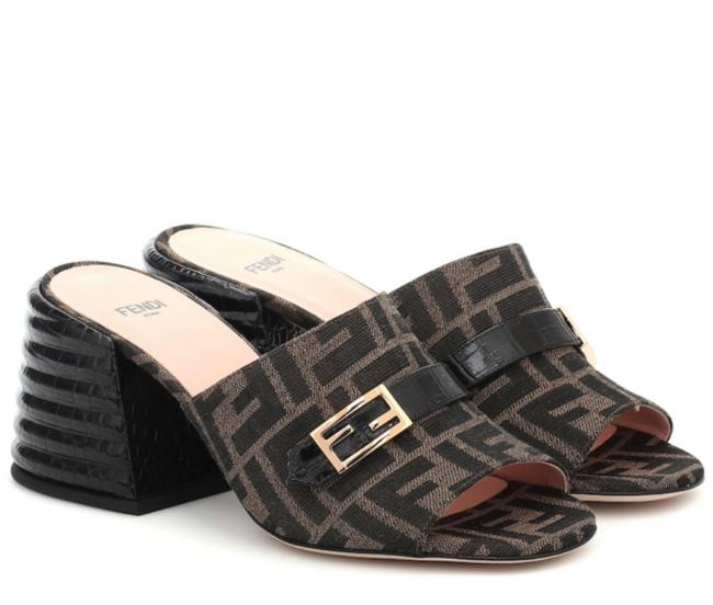 Item - Brown Promenade Croc-effect Leather and Canvas Mules/Slides Size EU 36.5 (Approx. US 6.5) Regular (M, B)