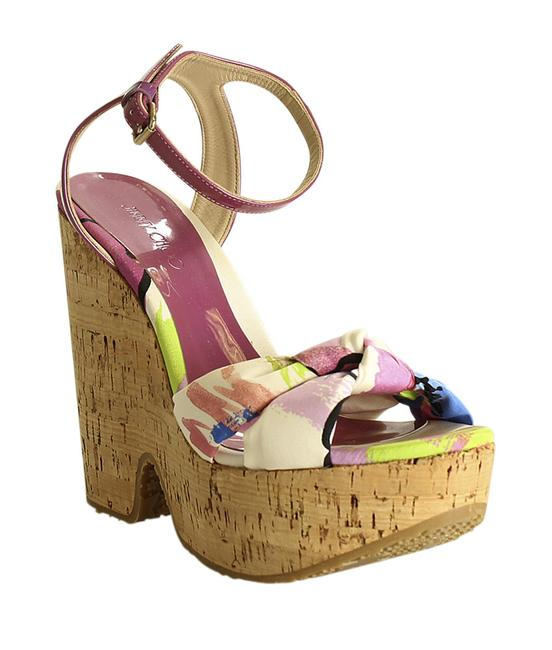 Item - Multi-color Knot Satin &patent Leather Cork (195937) Wedges Size EU 39.5 (Approx. US 9.5) Regular (M, B)