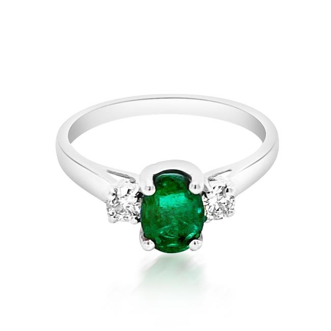 Item - Green 0.8ct Natural Emerald 14k White Gold 2.7gm Ring