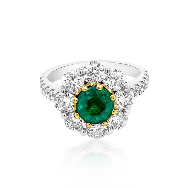 Item - Green 1.19ct Natural Emerald 14k White / Yellow Gold 5.6gm Ring