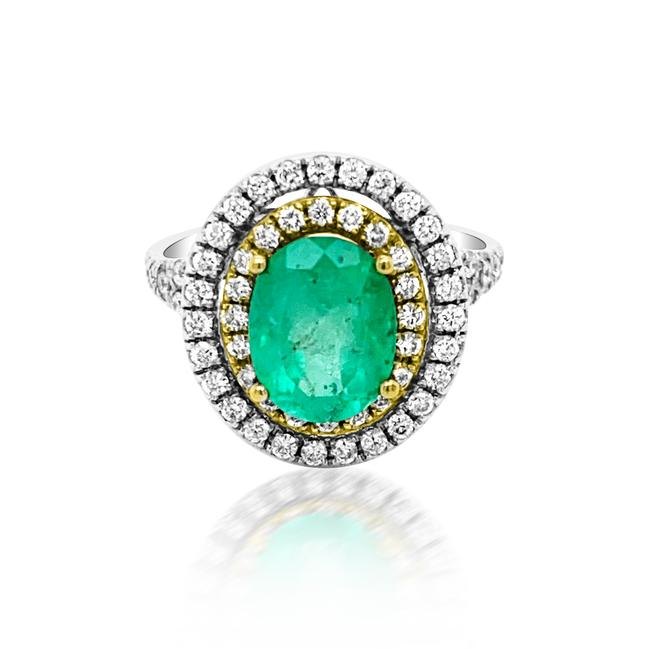 Item - Green 2.21ct Natural Emerald 14k White / Yellow Gold 5.8gm Ring