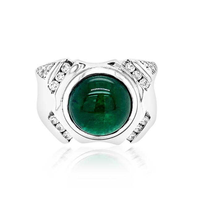 Item - Green 7.86ct Natural Emerald 14k White Gold 15.7gm Ring