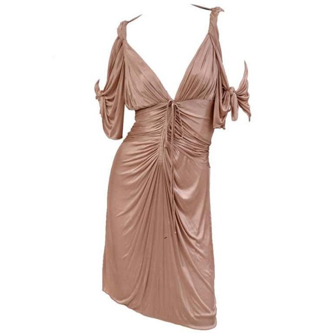 Item - Nude Gold Kimono S/S 2003 Collectible Tom Ford For Short Cocktail Dress Size 8 (M)