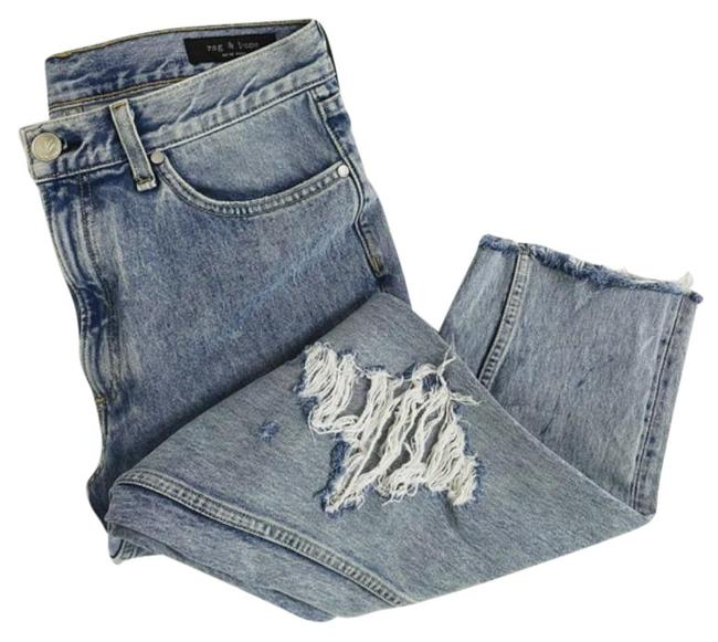 Item - Blue Distressed High Rise Ankle Crop Straight Leg Jeans Size 30 (6, M)