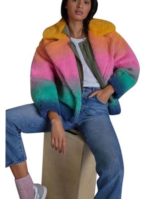 Item - Yellow Pink Ombre Marisol Rainbow Faux Coat Size 12 (L)