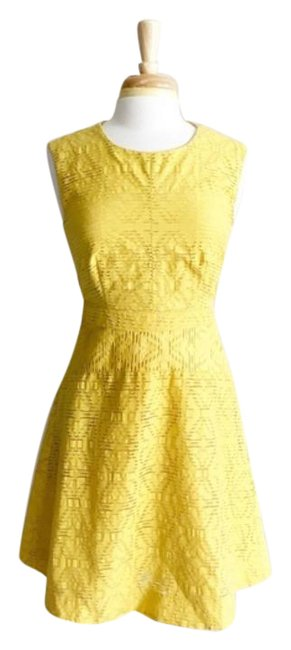 Item - Yellow Gold Sundress Eyelet Fit Flare Mid-length Work/Office Dress Size 4 (S)