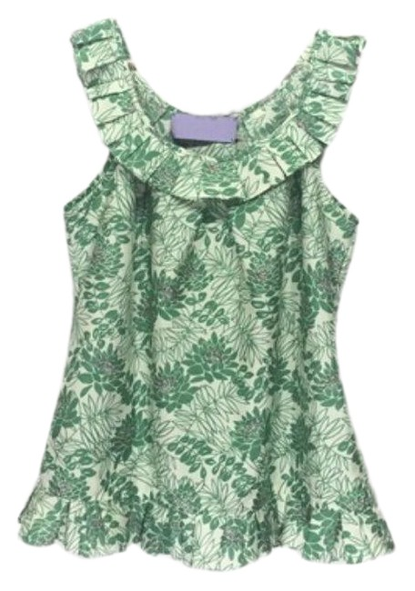 Item - Green Ruffle Floral Sleeveless Womens Blouse Size 10 (M)
